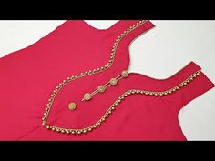 New Paan Shape Piping Lace and Button Neck Design With Easy Method Cutting and Stitching – dressideas Chudithar Neck Designs, Salwar Neck Designs, Neck Designs For Suits, Churidar Designs, Kurta Neck Design, Neckline Designs, Sleeves Designs For Dresses, Fancy Blouse Designs, Blouse Neck Designs
