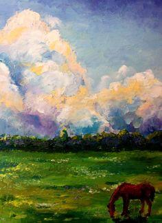 """ARTFINDER: Original landscape oil painting """"Gree... by Lena Navarro - Original oil painting on a board. I call this painting """"no brush painting"""", because i haven't used any brushes, just a pallet knife. This painting is very te..."""