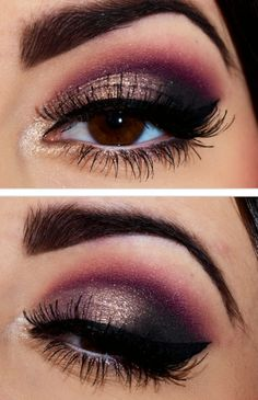 elegant evening makeup inspiration for brown eyes: gold, cranberry, plum and black eyeshadow