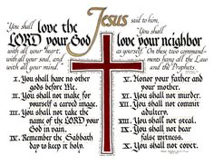 "Hand Lettered Calligraphy Print - ""The Ten Commandments"" - Christian décor -Scripture -Wall art"