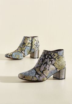 You Grew My Mind Bootie in Floral. Expand your fashion horizons by donning these patterned booties any time you feel the need to amaze! #blue #modcloth