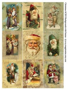 Christmas Santas  ACEO Size Digital Download Collage by MagpieMine, $4.00