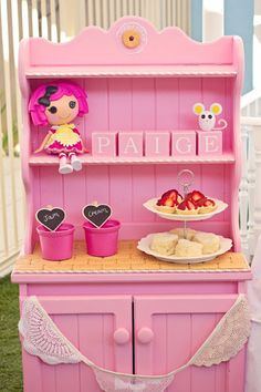Pink hutch used to display some treats