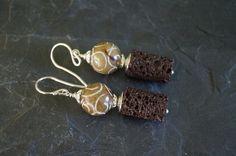 Lava - Ohrhänger Lava Speckstein 925 Silber - ein Designerstück von edelsteinreich bei DaWanda