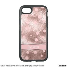 Glass Polka Dots Rose Gold OtterBox Symmetry iPhone 7 Case.....A trendy rose gold background pattern with an image that simulates textured glass decorated with polka dots and a ribbon banner to hold your name or monogram. Search ID364 to see other products with this design.