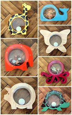 Wood & Acrylic Animal Banks #woodprojectsforkids...