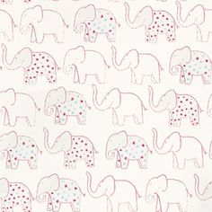 Elephant (7287 0161) - Casamance Wallpapers - A procession of cute outlined, hand painted elephants with the occasional star decorated one. Shown here in pink, blue and grey on a white background. Paste the wall product. Please request a sample for true colour match.