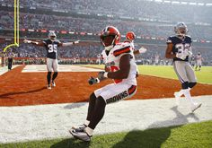 Cowboys vs. Browns:  35-10, Cowboys  -   November 6, 2017:    Andrew Hawkins #16 of the Cleveland Browns pops up after not making a catch against Orlando Scandrick #32 and Brandon Carr #39 of the Dallas Cowboys at FirstEnergy Stadium on November 6, 2016 in Cleveland, Ohio. (Photo by Gregory Shamus/Getty Images)