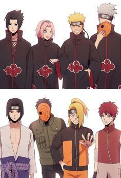 A equipe 7 vestida de akatsuki e a akatsuki vestida de equipe de errado ñ está certo Naruto Team 7, Naruto Shippuden Sasuke, Naruto Kakashi, Anime Naruto, Naruto Comic, Naruto Shippuden Characters, Wallpaper Naruto Shippuden, Naruto Cute, Naruto Fan Art
