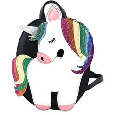 Sleepyville Critters Rainbow Unicorn Glitter Festival Mini Backpack ($42) ❤ liked on Polyvore featuring bags, backpacks, roll up backpack, mini bag, tail bag, unicorn print backpack and glitter bag