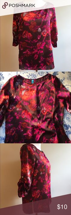 Long Sleeve Blouse Francesca's Top Size M. Floral brown and pink design. Great condition. Francesca's Collections Tops Blouses