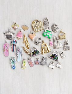 31 Purse and Shoe Charms  girlie shopping flip flops cell