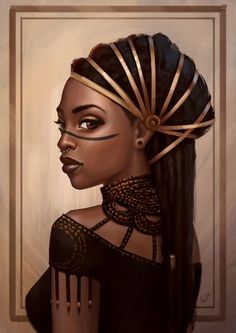 Noble woman with Väki heritage - Fantasy character inspiration Black Love Art, Black Girl Art, Art Girl, Character Portraits, Character Art, Afrika Tattoos, Arte Black, Afrique Art, Natural Hair Art