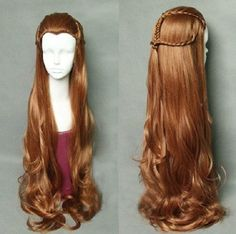 Japan-Anime-The-Hobbit-Elf-Tauriel-Wig-Hair-Costume-brown-wavy-cosplay-wig