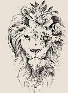 Tattoo Drawings, Body Art Tattoos, Tattoo Oma, Leo Lion Tattoos, Tattoos Familie, Lion Tattoo Design, Flower Tattoo Shoulder, Lion Art, Best Sleeve Tattoos
