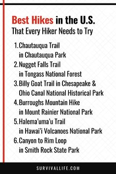 Knowing the best hikes in the U.S. is the best way to ensure you have fun on your hiking trip. Besides knowing the trails near you, you also learn the hiking difficulty of each to match your experience. Check out this roundup on the most popular hiking trails. #hikingtrails #hiking #hikingtips #outdoorsurvival #outdoor #survivallife Hawaii Volcanoes National Park, Volcano National Park, National Parks, Survival Life, Survival Skills, Chautauqua Park, Tongass National Forest, Mount Rainier National Park, Mountain Hiking