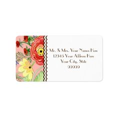 Mod Modern Floral Ranunculus Leaf Rose Bracket Personalized Address Label