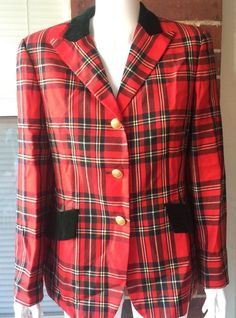 Vintage MONDI Preppy Red Plaid Wool Velvet Trim Blazer Jacket Euro 38 US 8 M | eBay