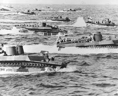LVTs sailing for Iwo Jima beaches, Feb 1945