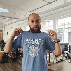 Here's Rich repping a bit of HubSpot merch in the office. The Office, Flow, Mens Tops, T Shirt, Fashion, Supreme T Shirt, Moda, Tee, Fashion Styles
