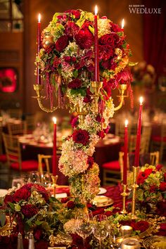 This spectacular wedding features an opulent colour palette of red and gold / Belle Burgundy Wedding, Red Wedding, Wedding Table, Perfect Wedding, Fall Wedding, Wedding Flowers, Wedding Receptions, Reception Decorations, Event Decor