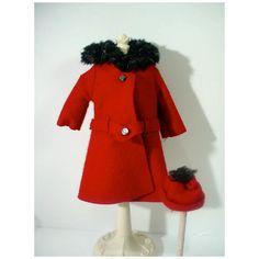 Vintage Mattel Barbie Outfit It's Cold Outside, 1964 Red Felt, Felt Hat, Vintage Barbie Dolls, Mattel Barbie, Belted Coat, Friend Outfits, Its Cold Outside, Barbie Friends, Fur Collars