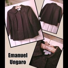 MEGA SALE❌😱EMANUEL UNGARO designer jacket Cute bolero jacket in black with collar, size small, good condition, worn once, message me if you have questions :) (Trade value $150) Ungaro Jackets & Coats