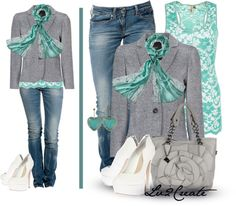 """""""Teal & Gray"""" by lv2create ❤ liked on Polyvore"""