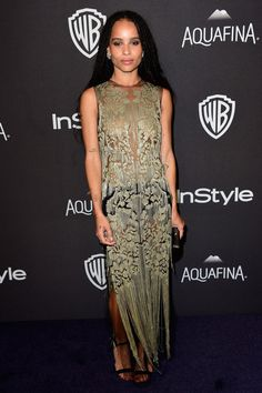 Zoe Kravitz in a sheer gold lace maxi