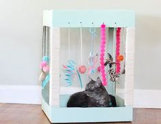 Cats Toys Ideas - Kitties love to play with boxes, yes? But a box tricked out with all of their favorite toys AND a scratching post AND cat treats? - Ideal toys for small cats Homemade Cat Toys, Diy Cat Toys, Toys For Cats, Cool Cats, Diy Pour Chien, Diy Jouet Pour Chat, Gatos Cool, Kitten Toys, Ideal Toys