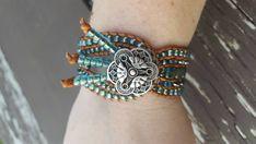 Handmade Amazing Blue Beaded Cuff Bracelet with by NatureByLisa