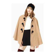 Camel Hooded Pockets Cape Style Coat (405 HKD) ❤ liked on Polyvore featuring outerwear, coats, beige cape coat, beige coat, cape coats and pocket coat