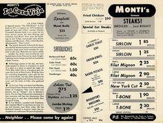Monti's vintage restaurant menu