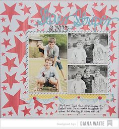 stars and stripes *American Crafts* by Diana Waite @2peasinabucket / LOVED using the Dear Lizzy Polka Dot Party to create this 4th of July themed page–TFL!