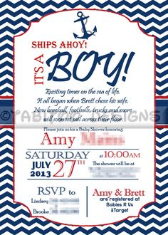 Nautical Baby Shower Invitation   Enter PIN10 At Checkout To Receive 10%  Off Your Purchase
