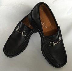 Gucci Black Horsebit Leather Loafers Size Euro 36 US SZ 6 B Womans Shoe Lug Sole