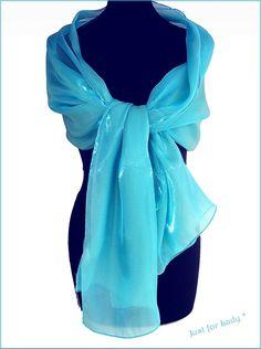 Etole femme - etole mariage - Organza Bleu Turquoise - Cérémonie, mariage,  cocktail cb62092fd6b