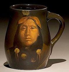 weller pottery indian portraits | Rookwood pottery standard glaze mug, Native American Indian portrait ...