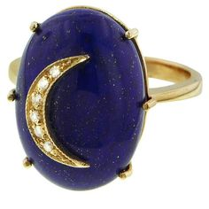 Andrea Fohrman Oval Lapis Diamond Crescent Moon Ring ($2,300) ❤ liked on Polyvore featuring jewelry, rings, blue, diamond cocktail rings, handcrafted jewelry, diamond rings, handcrafted rings and 14 karat gold ring