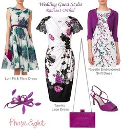 Phase Eight wedding guest dresses pink purple green black and white floral print. Shift lace dresses and fit and flare styles Coordinating orchid accessories. Peep toe suede sandals matching box clutch and feather fascinator