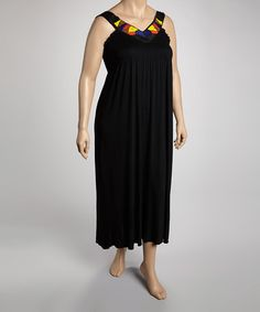 Look what I found on #zulily! Black & Yellow Beaded Jersey Necklace Maxi Dress - Plus #zulilyfinds