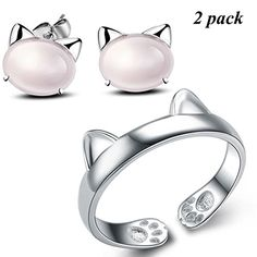 925 Silver Plated Adjustable Ring Cat's Ear Cute Kitten C...Click through for more information or to purchase this item.
