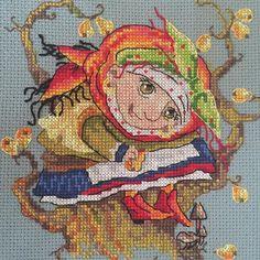Pear, merejka, cross stitch kit, cross stitch, mushroom