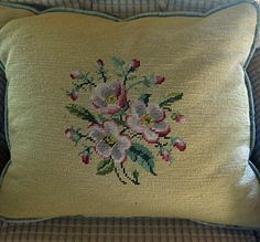 Vintage Embroidery 1940's Embroidery Vintage Pillow by mybonvivant