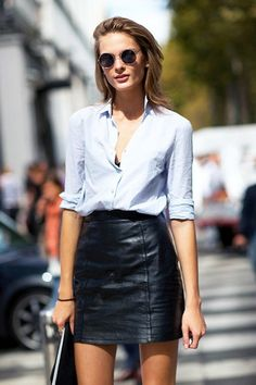Model-Off-Duty Style: Snag This Crazy Sexy Cool Leather Skirt Look via @WhoWhatWear