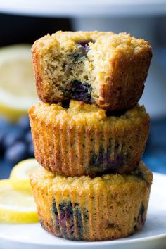 Lemon Blueberry muffins that are made with coconut and tapioca flour for a deliciously moist, tender gluten free, Paleo and nut free muffin!