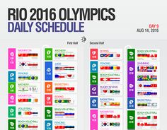 RIO 2016 OLYMPICS daly schedule