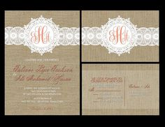Custom Wedding Invitations, personalized wedding invitation, Burlap and lace wedding invite, custom wedding invitations Personalised Wedding Invitations, Lace Wedding Invitations, Personalized Wedding, Our Wedding Day, Nursery Art, Paper Goods, Party Supplies, Wedding Planning, Frame