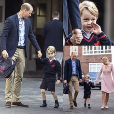 •swipe to see more pictures• George started his first day of school in Thomas's Battersea on Thursday morning accompanied by daddy William. Sadly, Kate couldn't be there and im sure she really wanted to be in his boy's side on one of his important day. They were welcomed by Head of The Lower School, Helen Haslem who were really friendy with George as he walked hand-in-hand with her to the reception classroom, a room children go into when they first start school at four or five years old…
