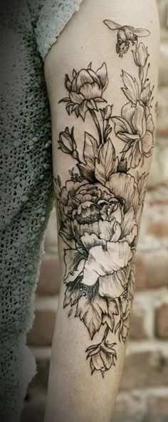 Peony tattoo on sleeve - 50 Peony Tattoo Designs and Meanings  <3 !